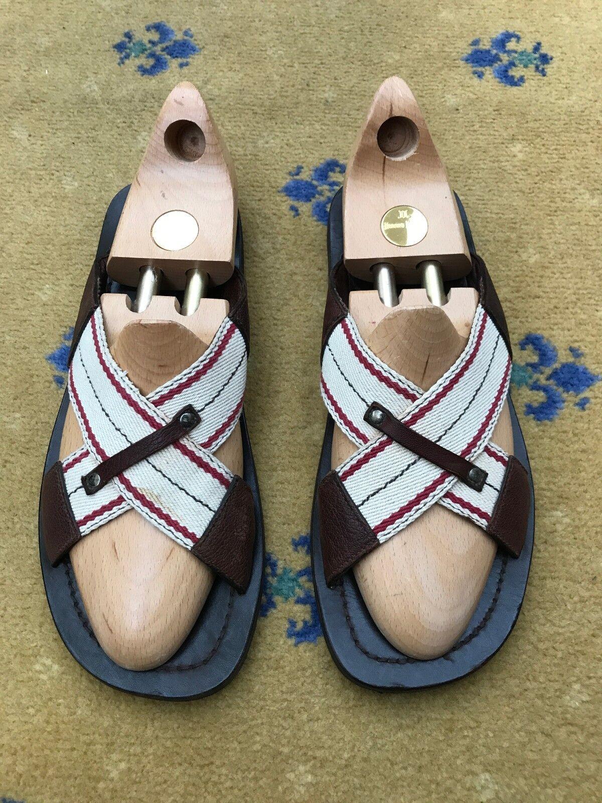 Miu Miu by Prada  Herren Herren  Sandales Flip Flop Braun Leder Schuhes UK 9 US 10 EU 43 3d8811