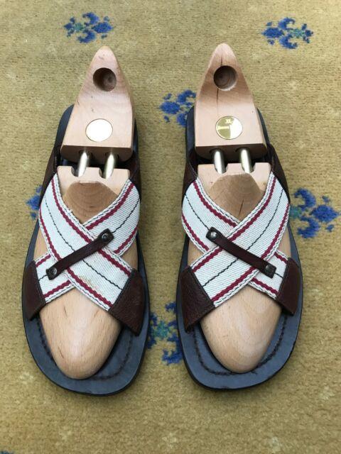 9 MIU Mens Brown Leather Flop UK 10 43 by US Sandals MIU Shoes Flip EU Prada Kcl1JT3F
