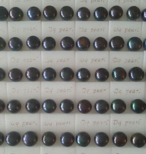 Modeschmuck Damen Mädchen Ohrstecker Ohrpin Zuchtperle schwarz winzig 6-7mm