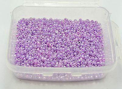 5000 Glass Ceylon Seed Beads 2mm (10/0) Violet + Storage Box