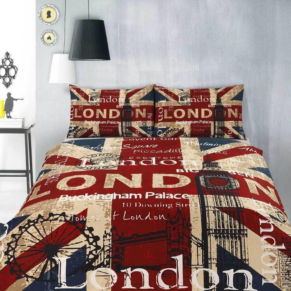 Retro London UK British Flag Teen Quilt Doona Cover Set Single Double Queen King