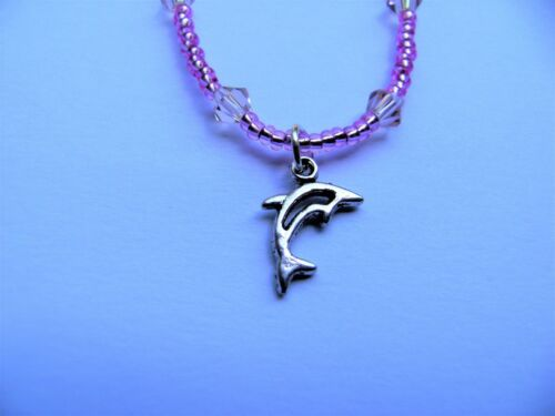 PINK DOLPHIN HEART CROWN LADYBIRD PINK STRETCH ANKLET ANKLE BRACELET /& CHARM