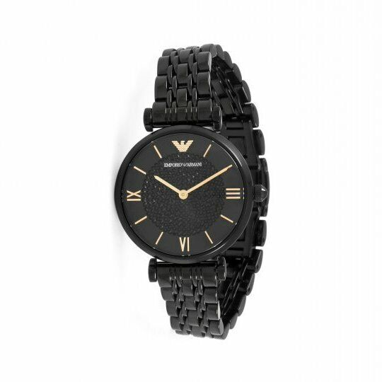 Emporio Armani GIANNI T-BAR Black Dial Crystal Quartz Women's Watch AR11245