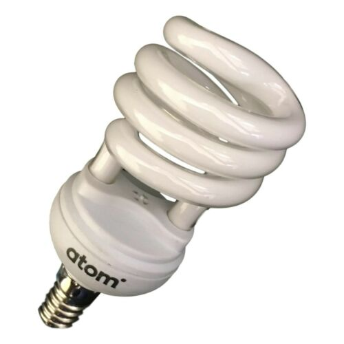 10 CFL Mini T2 E14 Globes Energy Saver Light bulbs ATOM Warm White 3000K 15 Watt
