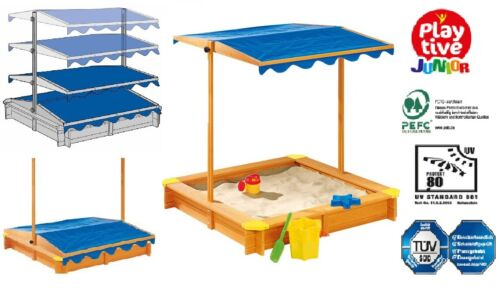 Playtive Junior Sandkasten mit Dach Fichtenholz Holz Plane Sandkiste Sandbox NEU