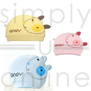 Cotton-Cute-Baby-Infant-Hat-Newborn-0-3-Months-Pink-Yellow-amp-Blue