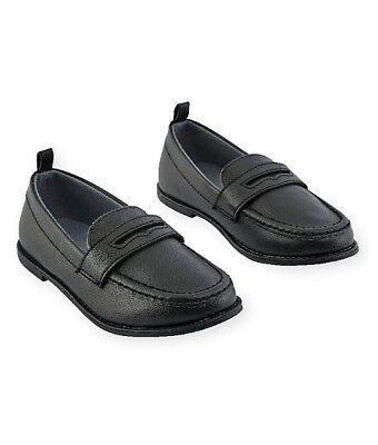 Koala Kids Toddler Boys PENNY Loafers Black Slip-on Comfy Dress Shoes