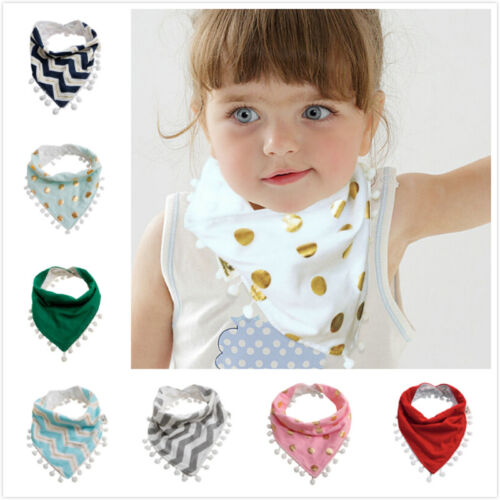 Baby Infant Kids Girls Boy Tassel Saliva Towel Bandana Triangle Bibs Head Scarf