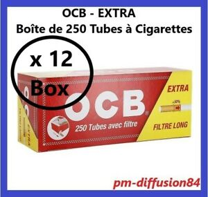 3000 TUBES à Cigarettes avec Filtres de 25mm. OCB - EXTRA 12 Boîtes de 250 Tubes