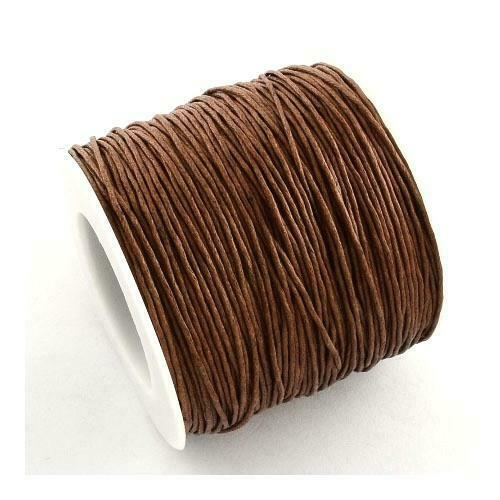 1 x Brown Waxed Cotton 5m x 1mm Thong Cord Continuous Length Sewing Jewellery