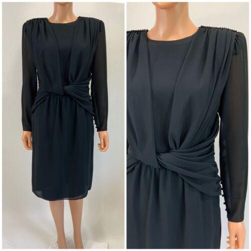 Ursula Of Switzerland Black Chiffon Dress Twisted