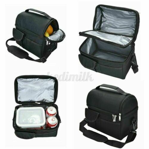 Double Deck Lunch Bag Dual Compartment for Women Men Work Office Insulated Box