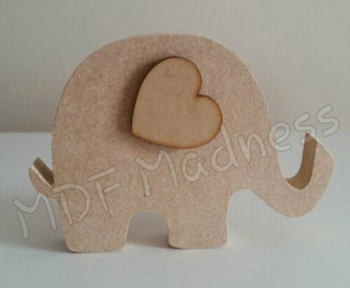 MDF CRAFT SHAPE WOODEN ELEPHANT WITH HEART EAR