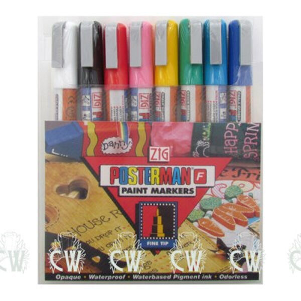SET of 8 POSTERMAN Liquid Chalk Pens. FINE Size. Paint For Boards & Signs