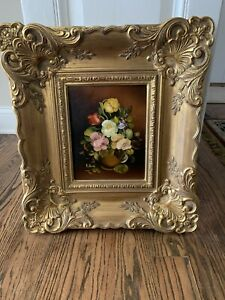 Vintage-Large-Victorian-Style-Gold-Ornate-Wooden-Picture-Frame-Floral-Painting