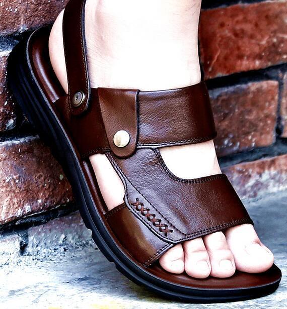Mens Leather Flats Open Toe Summer Sandals Slip On Slingbacks Sports shoes D515