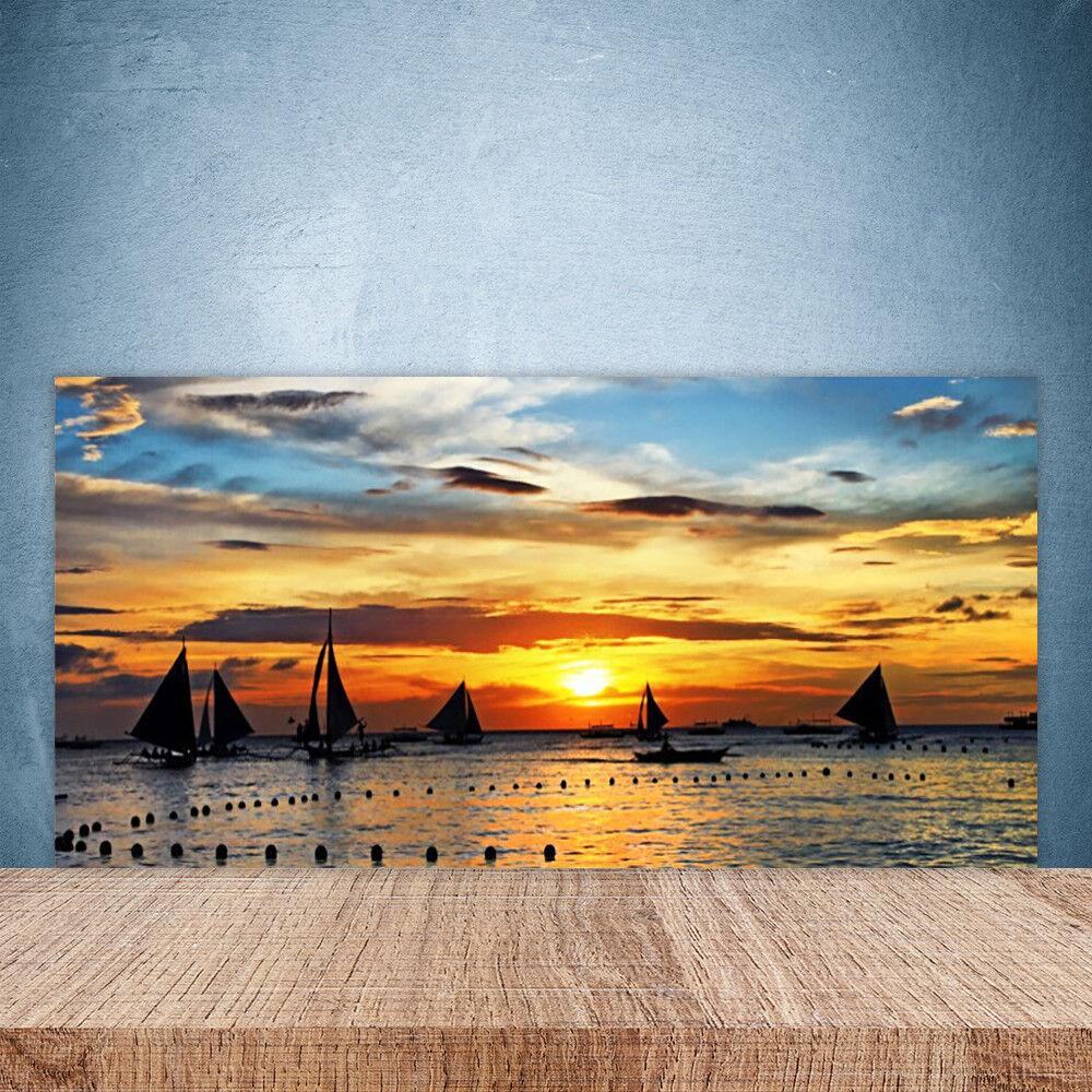 Vidrio Templado Cocina salpicaduras 100x50 Barcos Paisaje Sol Mar