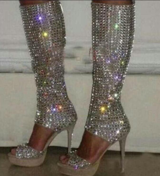 Damenschuhe Open Toe Platform Sandales Rhinestone Knee High Stiefel Sandales Platform Stilettos Heels J318 7c64f7