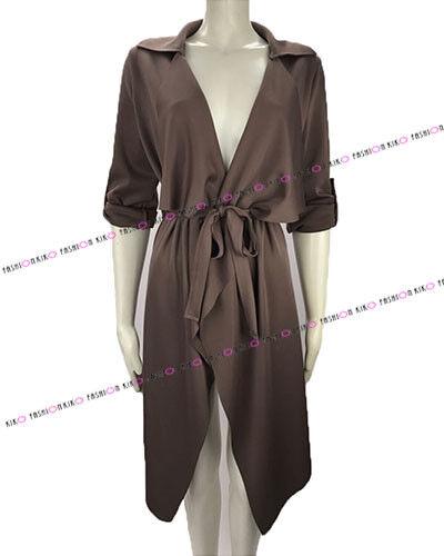 Donna Alzare Stile Militare Collard Waterfall Duster Blazer Jacket Coat