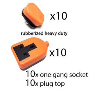 10 x Heavy Duty High Impact Extension Lead Trailing Socket End DOUBLE 2 Gang 13A