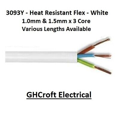 0.75MM 1.0MM 1.5MM  3 CORE HEAT RESISTANT FLEX 3093Y WHITE ROUND VARIOUS LENGTHS