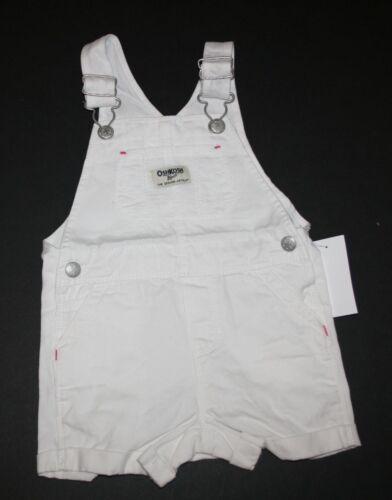 New OshKosh Girls Ivory Short Overalls Twill Eyelet Bib Pocket NWT 12-18M 5T