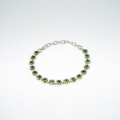 Damen Armband Tennis 925 Silber Versilbert Swarovski Kristalle Peridot Grün uni