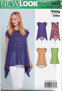 NEW-LOOK-SEWING-PATTERN-6453-MISSES-SZ-6-18-EASY-KNIT-TOPS-IN-FOUR-STYLES