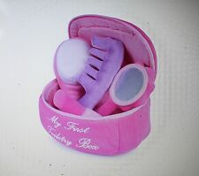 PINK SOFT TOY TODDLER VANITY COSMETIC CASE MIRROR COMB LIPSTICK BRUSH SET