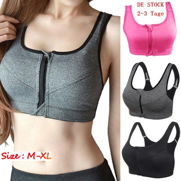 3x Damen Frauen Nylon BH Bustier Fitness Gym Yoga Bra Reißverschluss Top M-XL DE