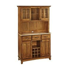 Home Styles 5100-0061-62 Buffet of Buffet with Wood Top and Hutch Cottage Oak