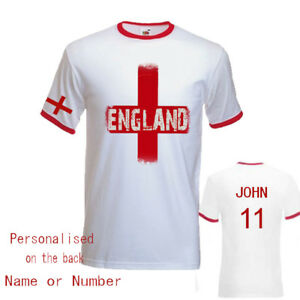 England World Cup 2018 Inspired Ringer Mens Red T Shirt
