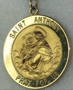 Vintage 14k gld saint st anthony pray for us medal pendant charm image is loading vintage 14k gld saint st anthony pray for aloadofball Choice Image
