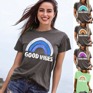 Womens-Rainbow-Pullover-T-Shirt-Blouse-Sweatshirt-Tee-Short-Sleeve-Ladies-Tops