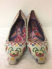 Irregular Choice women Floral embroidery Pointed Flats shoes Size 38