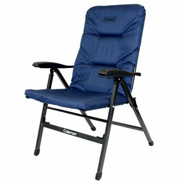 NEW COLEMAN PIONEER 8 POSITION FLAT FOLDING CHAIR CAMPING PADDED SEAT HIKE NAVY