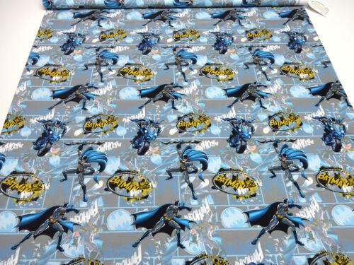 Tela de algodón Jersey Batman súper héroes gris azul amarillo niños sustancia kleiderstof