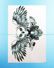 """flying owl skull playing cards 8.25""""extra large temporary fake tattoos for sale"""