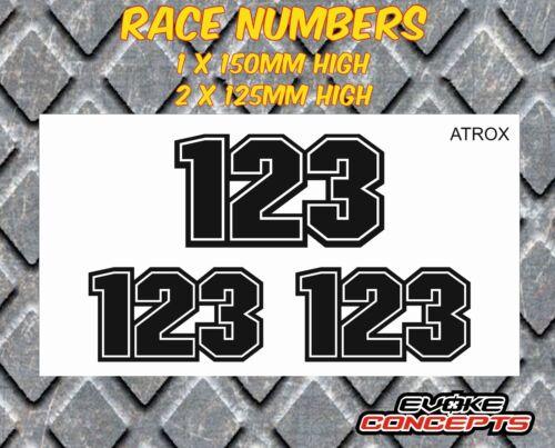 Laminated Race Number Stickers Decals Motocross Kart MX BMX Enduro 3 x Hi-bond
