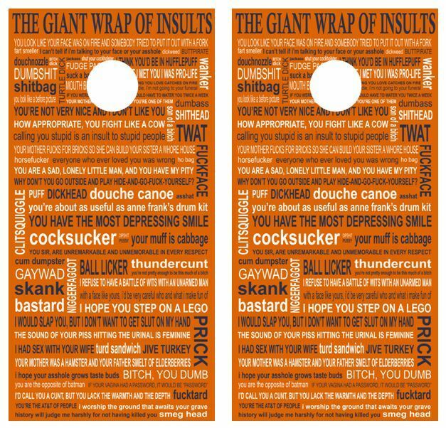 The Giant Wrap Of Insults Cornhole Board Wraps FREE SQUEEGEE
