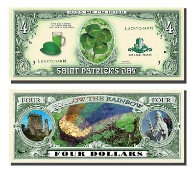 St Patrick/'s Day Four Leaf Clover 4 Dollar Funny Money Novelty Note FREE SLEEVE