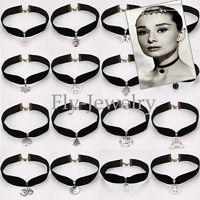 Celebrity Gift Black Gothic Velvet Cord Choker Charm Necklace Pendant Retro Boho