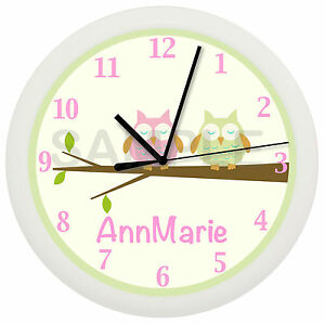 Image Is Loading PERSONALIZED PINK NURSERY OWL WALL CLOCK TREE BEDDING
