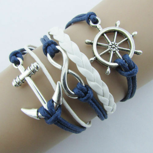 UK-New-Blue-Rudder-Anchor-Leather-Rope-Bracelet-Nautical-Silver-Plated-Charms