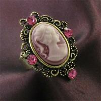 Antique Gold Vintage Style Cameo Ring Pink Crystal Stone Lady Size Adjustable O9