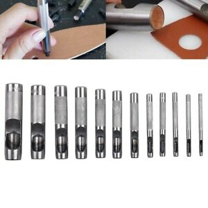 NEW 9PC HOLLOW PUNCH SET HOLE CUTTER PUNCHER TOOL GASKET VINYL CRAFT LEATHER