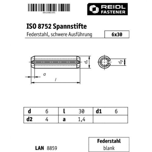 100x ISO 8752 Spannstifte//Spannhülsen 6x30 HP