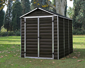 palram skylight garden shed new dark brown in 6 sizes with free