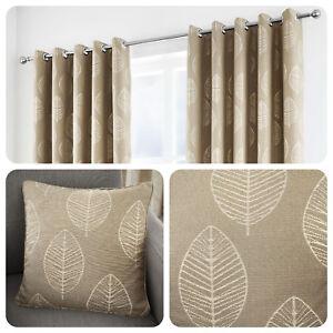 Curtina-HELSINKI-Natural-Beige-Ready-Made-Eyelet-Curtains-amp-Cushions