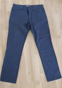 Quiksilver-36-Mens-Casual-Pants-Straight-Leg-Blue-Black-Check-Style-UQMLP233